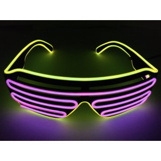 LED Neon Brille Gelb / Pink