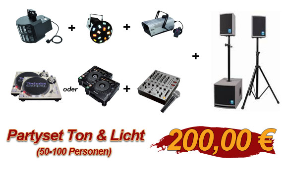Partyset Ton & Licht